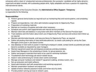 Opportunity Place - Administrative Office Support (Temporary)