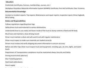 Mosher Limestone Co. Ltd. (Upper Musquodoboit) - Dump Truck Operator