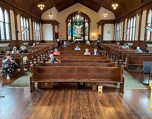 Sanctuary with masked congregants