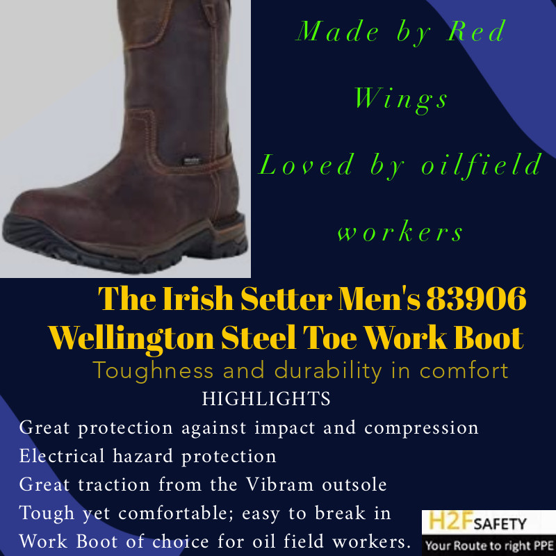 The Irish Setter Men's 83906 is built for your feet protection and comfort in challenging environments. This work boot combines durability and toughness with extreme comfort, excellent flexibility and superior traction on slippery surfaces. It comes with a steel toe cap for protection and a slip resistant outsole to keep you from falling on wet and slippery surfaces.