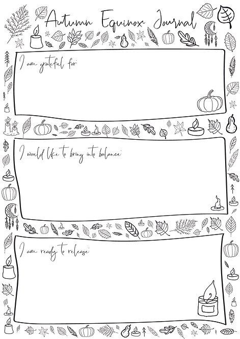 Free Autumn Equinox Journal Sheets