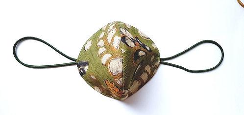 Tapabocas Tela Japonesa / FLORES fondo verde aceituna