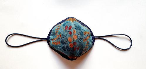 Tela Japonesa / ESPERAR LA PRIMAVERA fondo azul oscuro bola flores turquesa