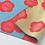 Thumbnail: Furoshiki doble faz ALBARICOQUE fondo azul y beige