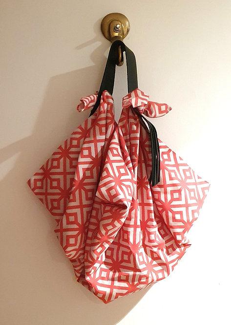 Furoshiki tela algodón COL Grande. Celosía republicana color rojo naranja.