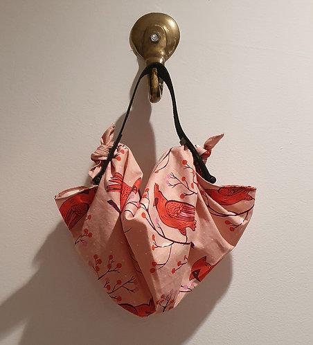 Furoshiki tela JAPÓN pequeño / Cardenales fondo rosado