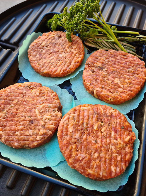 Pork, Caramelised onion & mozzarella burger