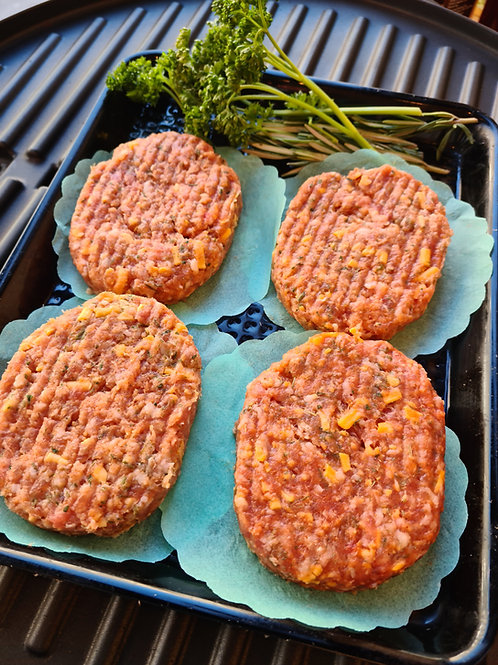 Pork, Cheese & chive patty