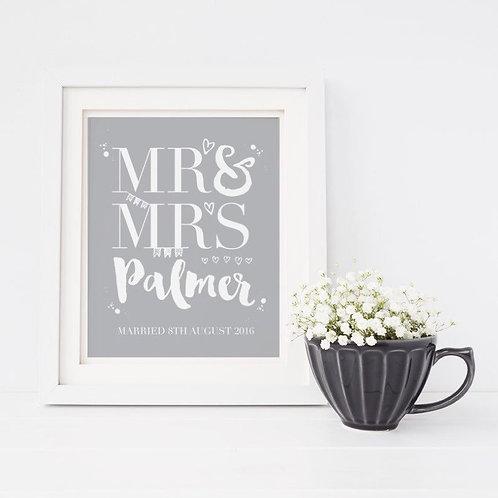 Mr & Mrs Personalised Print
