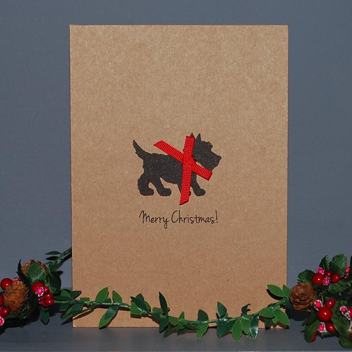 Red Bow Scottish Terrier Christmas card