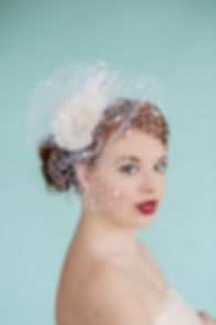 White rose bridal birdcage veil