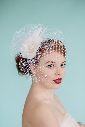 White rose bridal birdcage veil