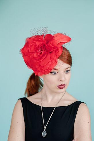 Red silk mini pill box hat