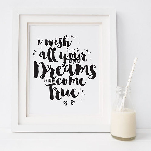 I Wish All Your Dreams Come True Nursery PrintI