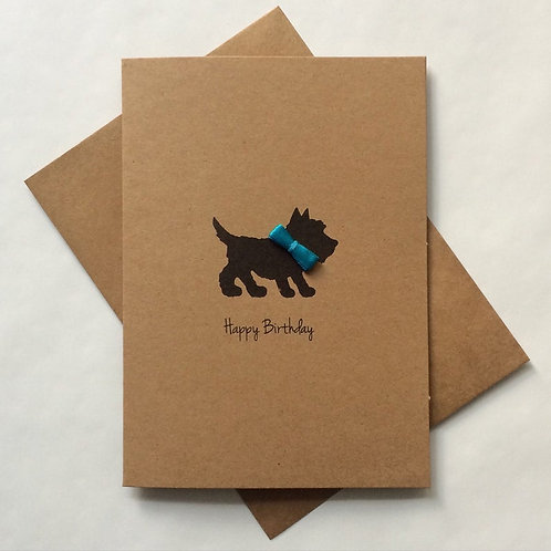 Scottie Dog with Blue Bow Tie Card