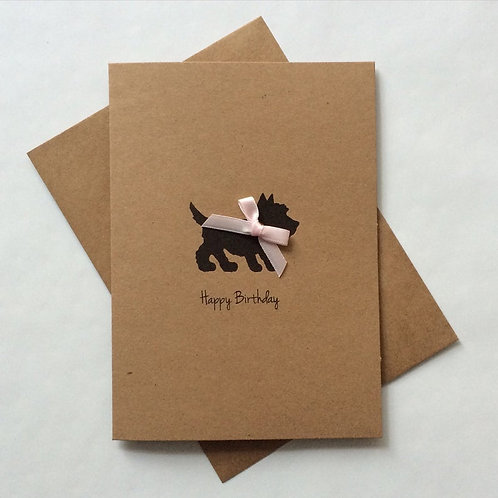 Scottie Dog with Pink Bow Tie Card