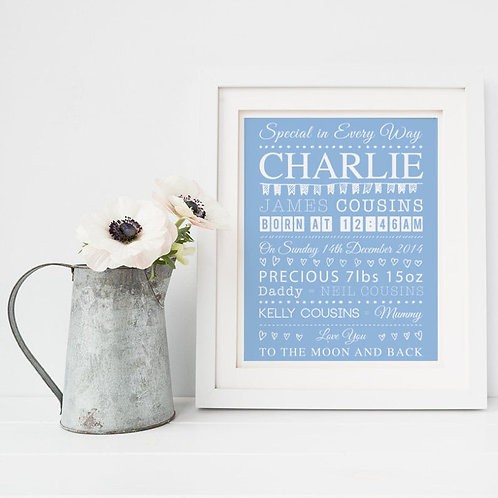 Baby Boy / Girl Announcement Personalised Print