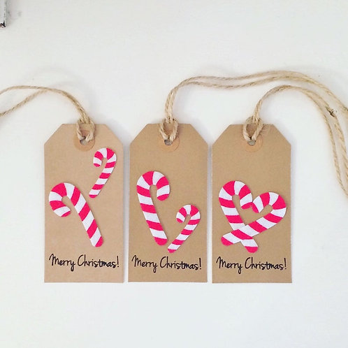 Candy Cane Christmas Gift Tags (pack of 3)
