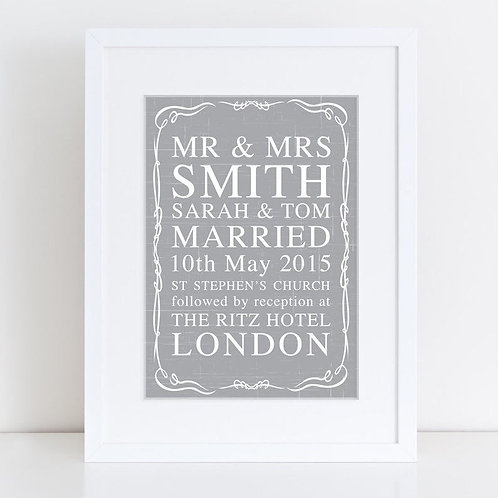 Mr & Mrs Wedding Date Personalised Print