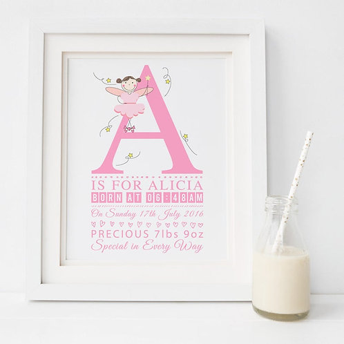 Baby Girl Announcement Personalised Print