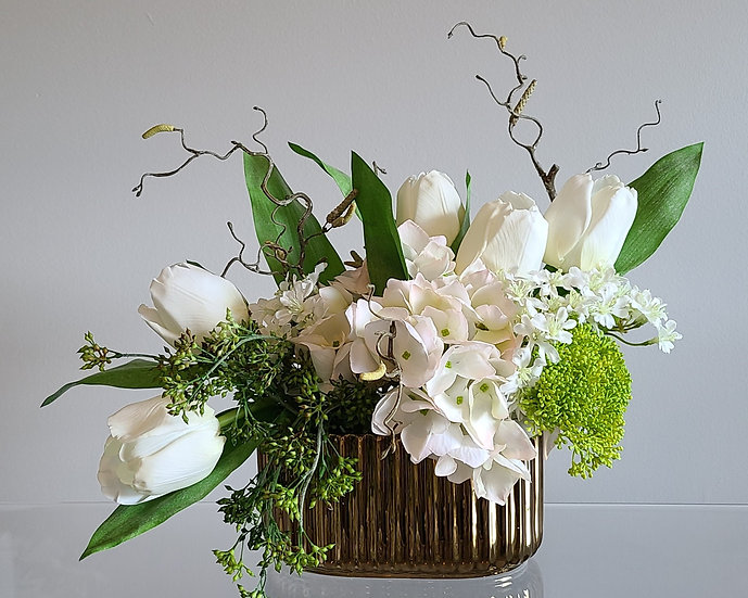 Real Touch Hydrangea and Tulip arrangement