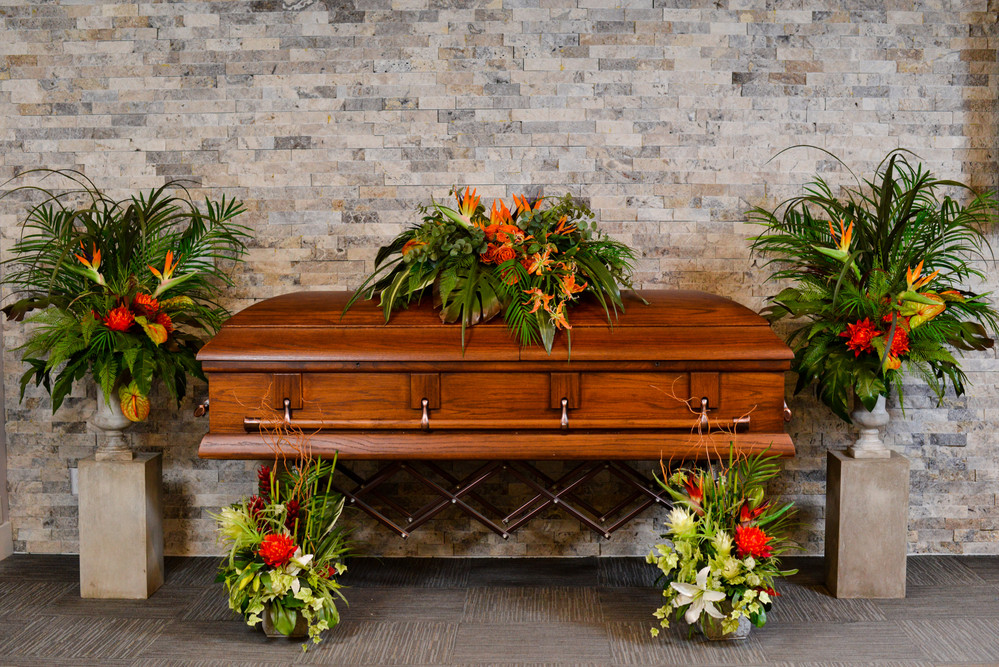 Tropical faux floral collection for funeral