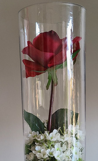 Real touch Rose in Cylinder