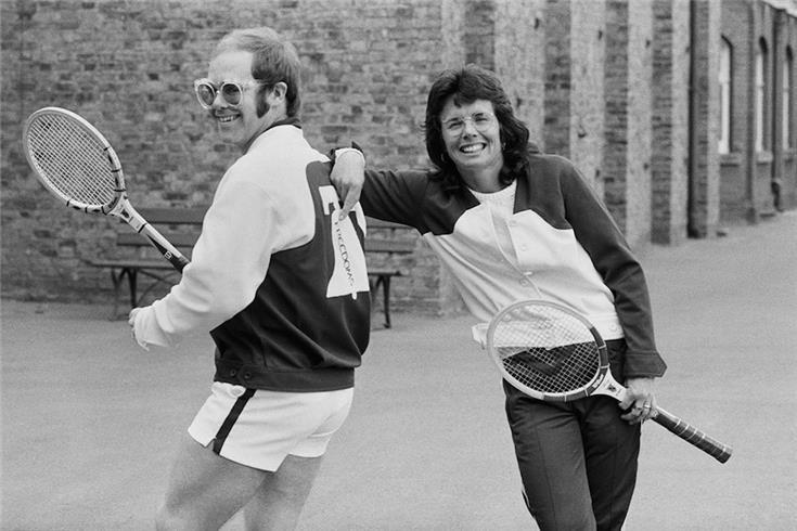 Billie Jean King and Elton John who would write Philadelphia Freedom