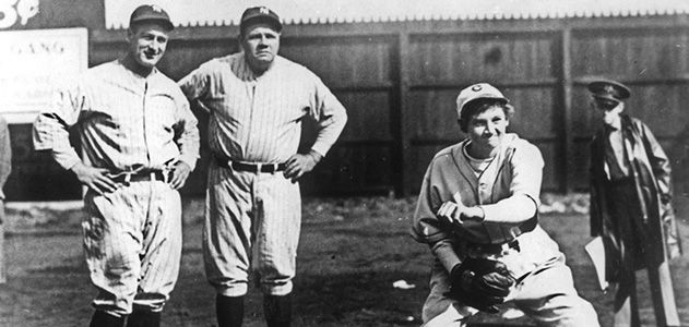 Jackie Mitchel with Babe Ruth and Lou Gehrig