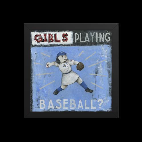 AAGPBL - Girls Playing Baseball by Paine Proffitt - Giclée-Print Framed