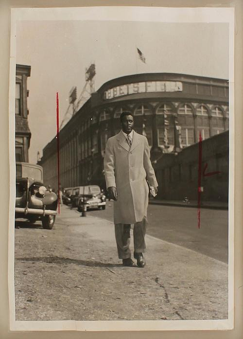 Jackie Robinson leaving Ebbets Field after his Major League Debut