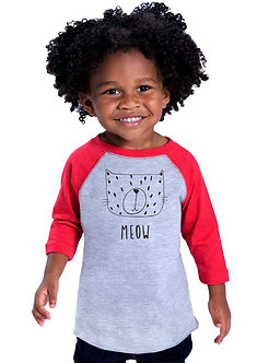 Meow Cat - Toddler Vintage Fine Jersey Baseball T-Shirt (Wholesale)
