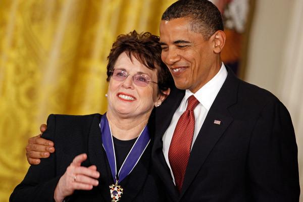 Billie Jean King and Barack Obama
