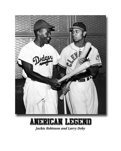 Jackie Robinson and Larry Doby as members of the Dodgers and Indians