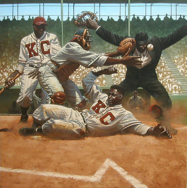 Jackie Robinson steals home past Cleveland Buckeye catcher Quincy Trouppe