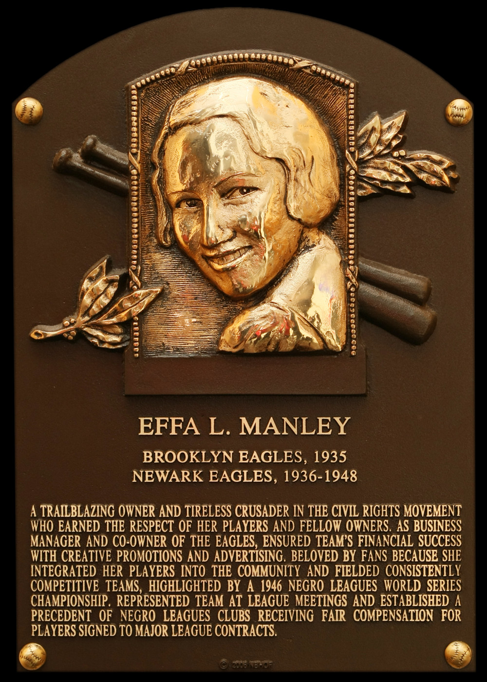 Effa Manley's Hall of Fame Plaque