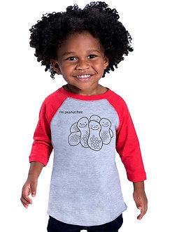 I'm Peanut Free - Toddler Vintage Fine Jersey Baseball T-Shirt