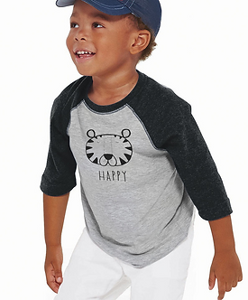 Happy Tiger - Toddler Vintage Fine Jersey Baseball T-Shirt