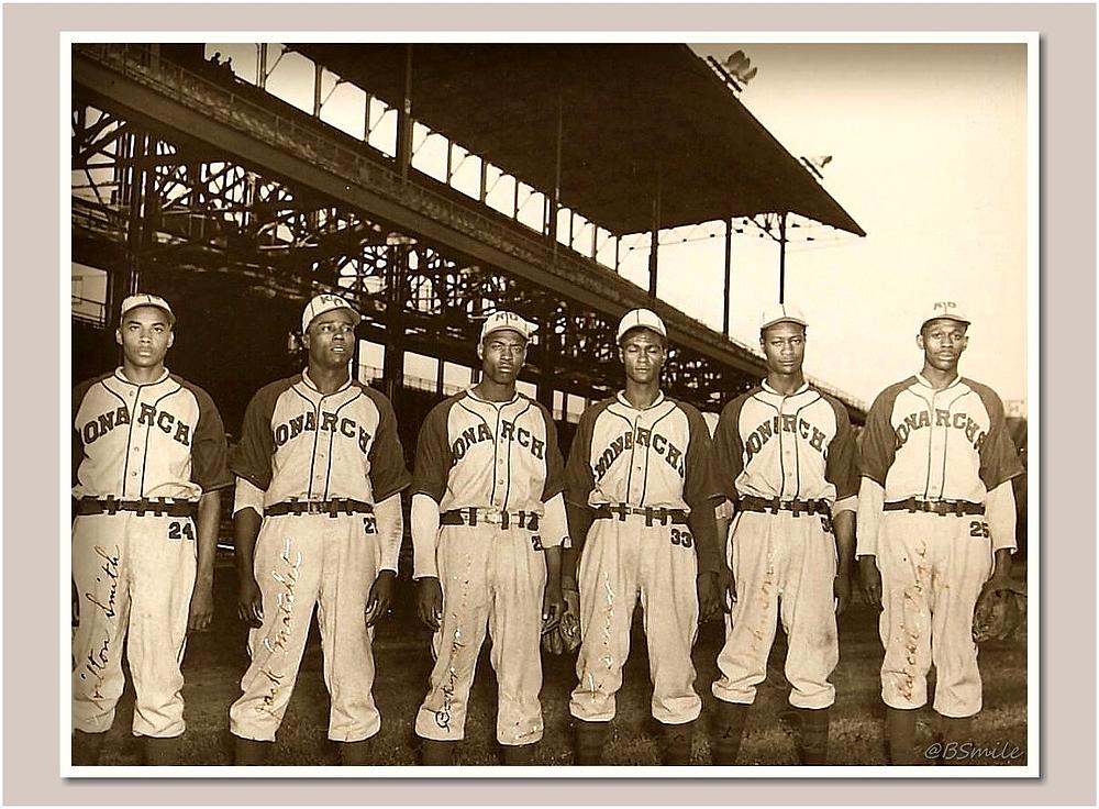 1942 Kansas City Monarchs Pitching Staff (Hilton Smith, Jack Matchett, Booker McDaniels, Lefty LaMarque, Connie Johnson & Satchel Paige)