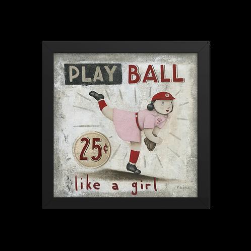 AAGPBL - Play Ball Like a Girl by Paine Proffitt - Giclée-Print Framed