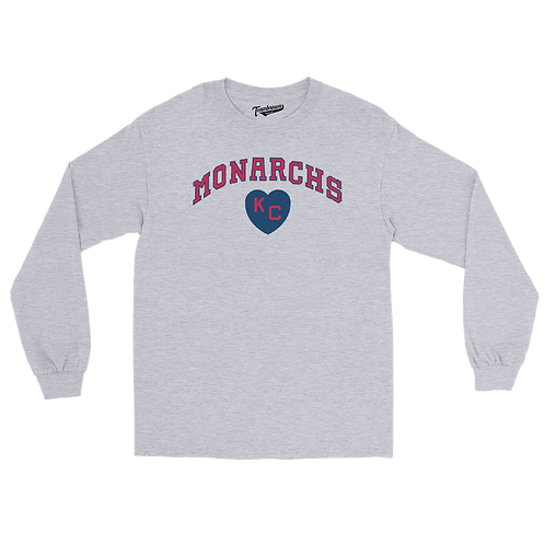 Kansas City Monarchs Heart Unisex Long Sleeve Crew T-Shirt