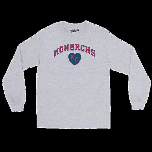 Kansas City Monarchs Heart Unisex Long Sleeve Crew T-Shirt