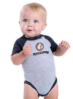 Baseball - Infant Vintage Fine Jersey Baseball Onesie (Wholesale)