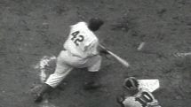 Jackie Robinson bunting with the Dodgers