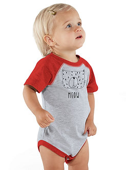 Meow Cat - Infant Vintage Fine Jersey Baseball Onesie