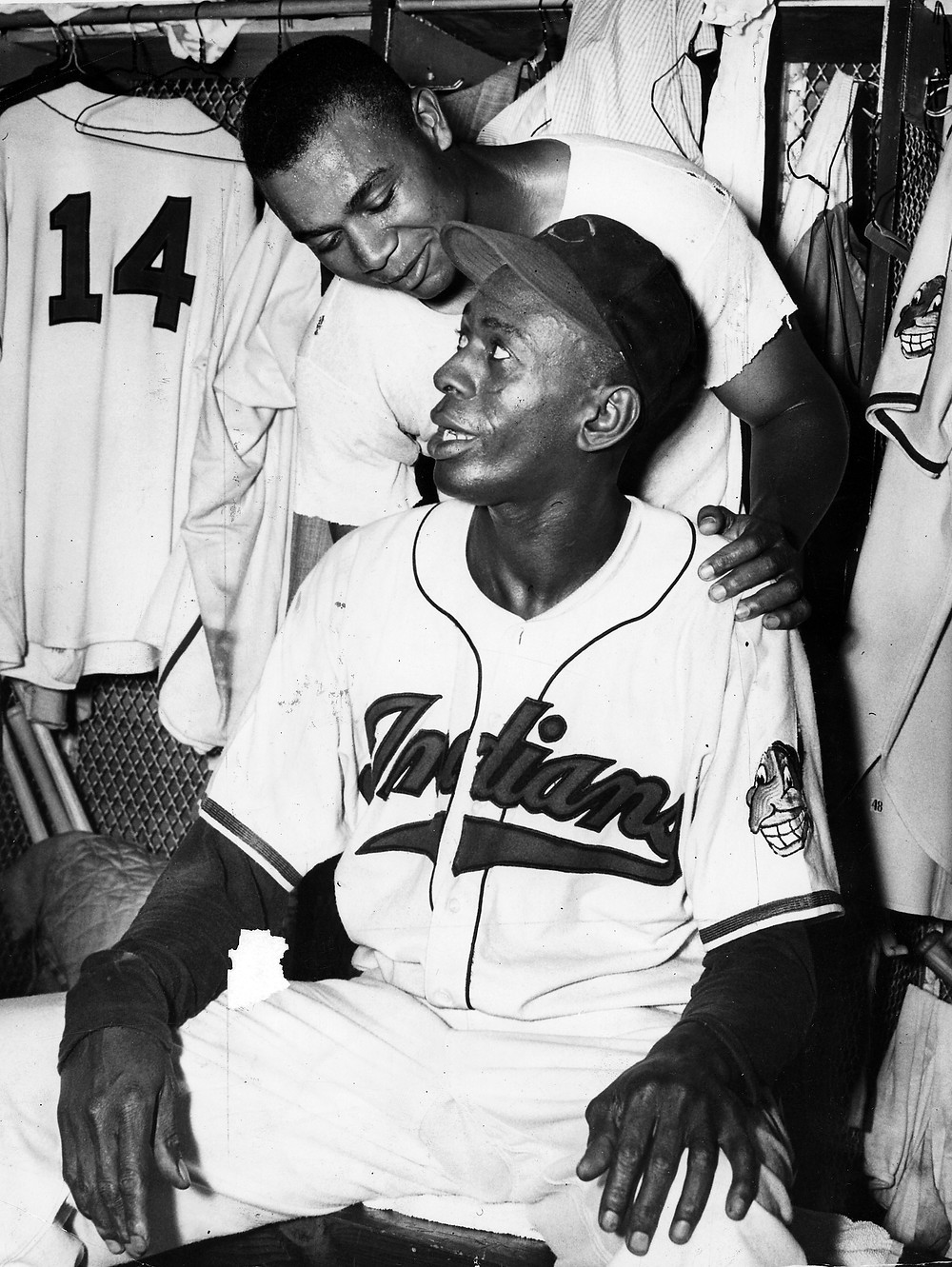 Larry Doby and Satchel Paige in the 1948 World Series