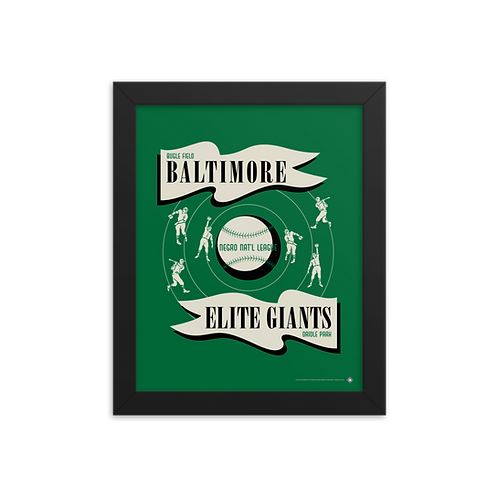 NNL Baltimore Elite Giants by Gary Cieradkowski - Giclée-Print Framed