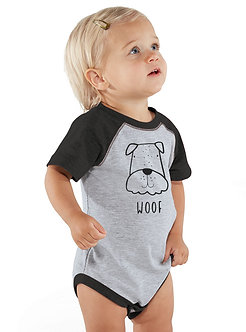 Woof Dog - Infant Vintage Fine Jersey Baseball Onesie (Wholesale)