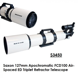 Saxon 127mm Apochromatic FCD100 Air-Spaced ED Triplet Refractor Telescope