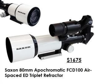 Saxon 80mm Apochromatic FCD100 Air-Spaced ED Triplet Refractor